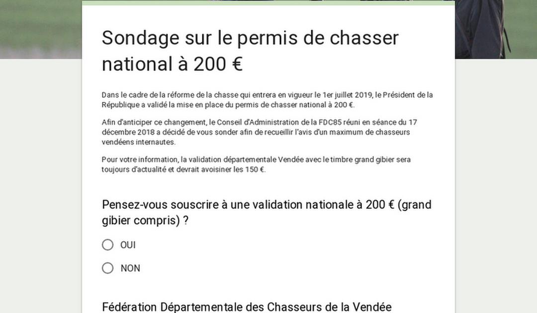 Sondage sur le permis de chasser national à 200 €